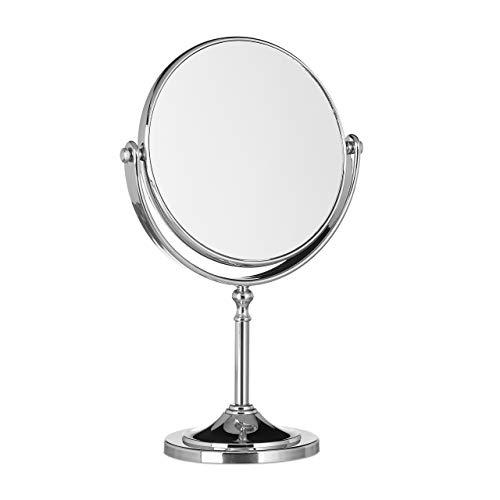 Relaxdays Kosmetikspiegel Vergrößerung, Schminkspiegel stehend, Make Up Spiegel rund, zweiseitig HBT: 28x18x10cm, silber