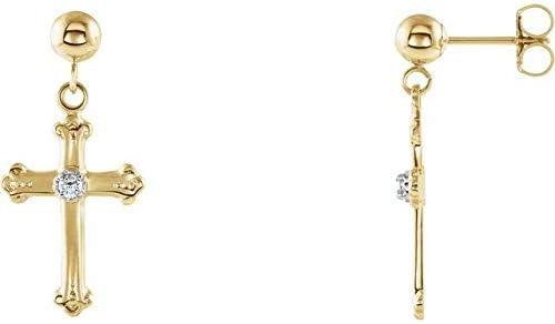 14K Yellow Gold & White Diamond Cross & Ball Earrings Cross & Ball Earrings