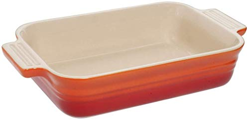 LE CREUSET Bandeja Rectangular para 2 porciones, Cerámica de gres, Naranja (Volcánico), 18 x 13 cm