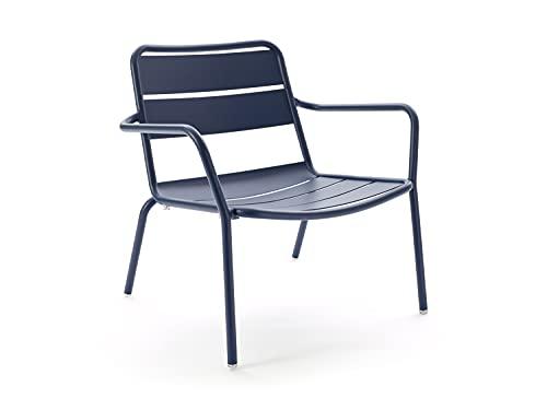 CAIRO Designer Lounge Outdoorsessel Malaga blau - Outdoor Loungesessel für Terrasse und Balkon, Garten Sessel aus Aluminium Gestell, HxBxT 72,5x76,7x69,3 cm
