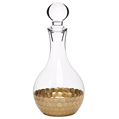 Whiskey Decanter Wine Carafe, Gold Plated Premium Glassware Hand Crafted Drinkware