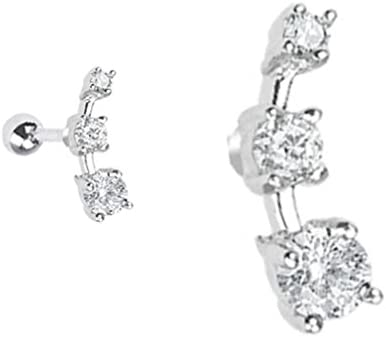 Clear cz 3 prong set gems Tragus or Helix Cartilage earring barbell piercing bar body jewelry Ring 16g, 16 gauge