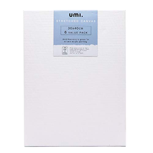 Umi.by Amazon - Bastidores entelados pretensados con lienzo de,30x40cm,paquete de 6,grano medio 100% algodón,280GSM,con imprimación tricapa y sin ácido,1,6cm de grosor