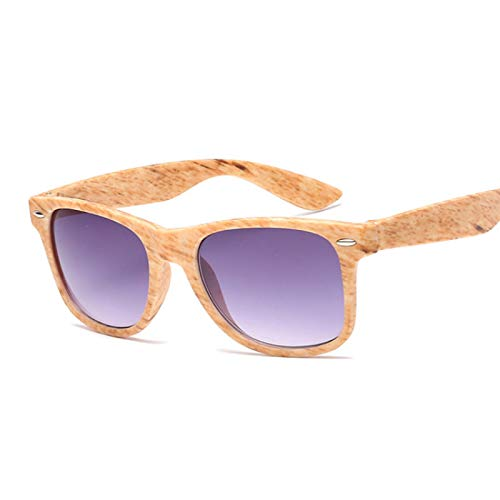 CAONIDAYE Gafas de sol de imitación de madera para mujer, gafas negras cuadradas de moda, montura pequeña, gafas Retro Vintage, unisex, Yellowgrain
