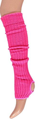 krautwear® Damen Mädchen Ballettstulpen mit Fersenloch Beinwärmer Ballett Stulpen Legwarmer Armstulpen ca. 55 cm 80er Jahre 1980er Jahre schwarz weiss Neon Pink Grün Gelb Orange (Pink)