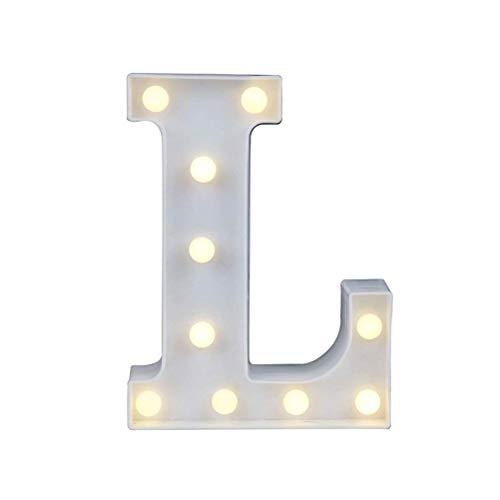 Mlamat - Letras LED Luminosas, 26 Letras, número de Luces y símbolo de Amor, corazón Ilumina, símbolo de Ambiente, lámpara para el Amor, Boda, casa, Fiesta, Bar, decoración, L