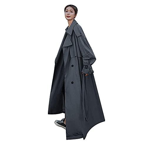 ShZyywrl Mujer Abrigo Abrigos Gabardina De Longitud Media por Encima De La Rodilla para Mujer GabardinaSuelta Cómoda MujerXL Gris