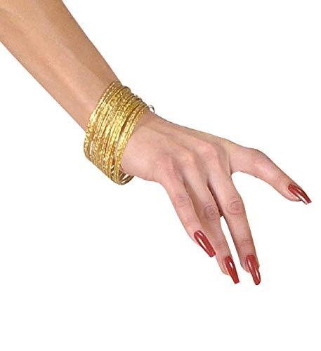 shoperama 40 pulseras finas doradas con relieve de danza del vientre, adivinadora, gitana, india