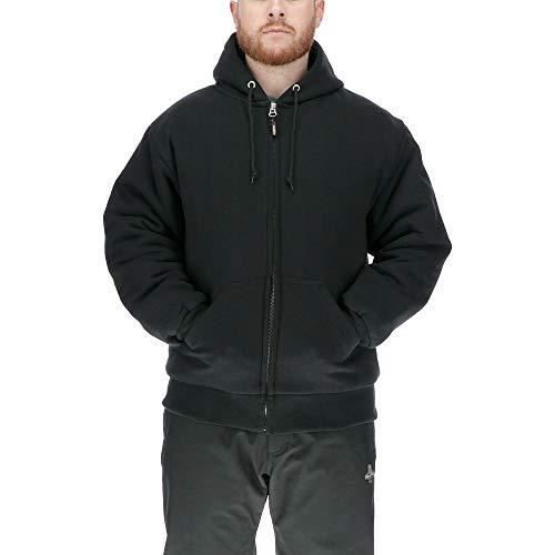 RefrigiWear Men's Insulated Quilted Sweatshirt Hoodie (Black, Large)