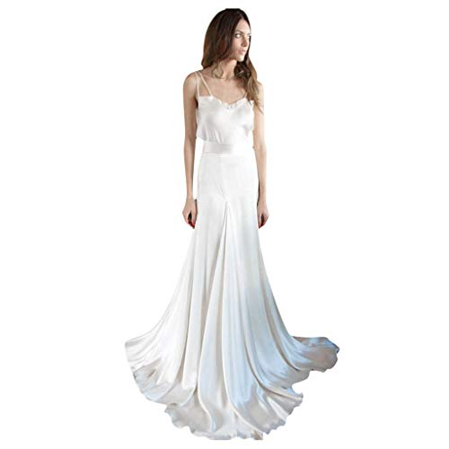 Leewos Women's Sexy Off Shoulder White Color Camisole Smooth Party Wedding Dress(White,Small)