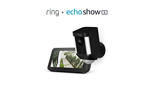 Ring Spotlight Cam Battery (Black) with Echo Show 5 (Charcoal)