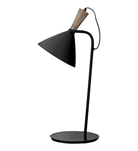 Tischlampe Tischleuchte Lampe 'Mirelle' Metall Mangoholz schwarz Loft Industrial Skandinavisch Nordic