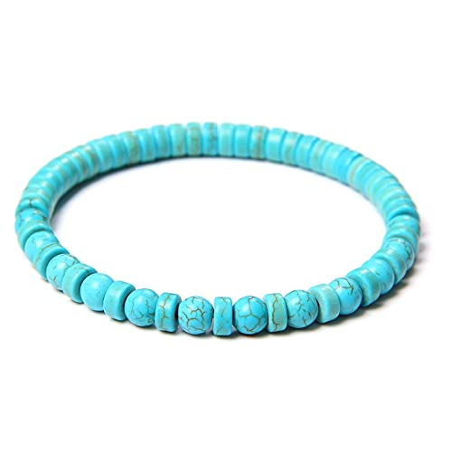 Handmade Elastic Bracelets Natural Spacer Slice Turquois Bracelet Men 8 mm Round Howlite Stone Beads Bangle Women Jewelry Gift