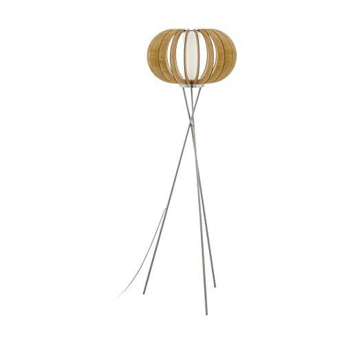 EGLO Stehlampe Stellato 1, 1 flammige Stehleuchte Vintage, Standleuchte aus Stahl, Holz und Glas, Wohnzimmerlampe in Nickel-Matt, Ahorn, weiß, Lampe mit Tritt-Schalter, E27 Fassung