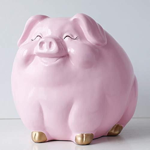 HUANSUN Caja de Dinero en Efectivo para niños Regalo Resina Animal Estatua Caja Moneda Hucha Caja Creativa decoración de la habitación de los niños, Rosa