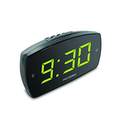 Metronic 477006 - Despertador Digital electrónico, Doble Alarma con Gran Pantalla LED Verde, luminosidad Ajustable, Brillo, Snooze, alimentación eléctrica, Negro