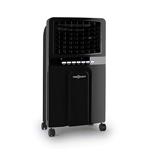 OneConcept Baltic Summer Edition - Air Cooler, Low Consumption, Freshener Function, Air Purifier, Humidifier, Flow 400m³ / h, 65W, 3 powers - Anthracite
