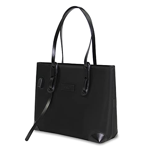 Kamlui 15.6 inch Laptop Tote Bag Woman Cute Waterproof Fashion USB Teacher Work Purse Office Computer Organizer Bag Fits 15.6 inch Laptop MacBook Pro Air HP Dell (Black )