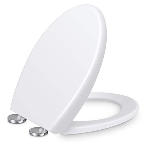 Renfox WC Sitz,Toilettendeckel mit Softclose Absenkautomatik, Klodeckel mit Quick-Release Funktion für leichte Reinigung, Edelstahl-Befestigung, Antibacterial Toilet Seat O-Shape PP Toilet Seat