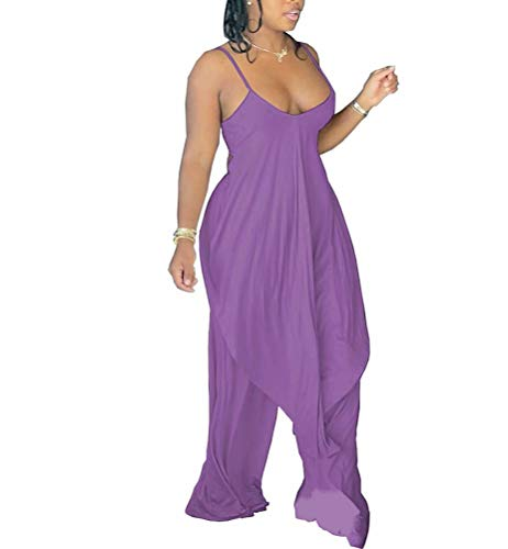 Women Casual V Neck Ruffle Flowy Tops Overlay Jumpsuits Comfy Wide Leg Palazzo Lounge Pants 2 Piece Outfits Purple L