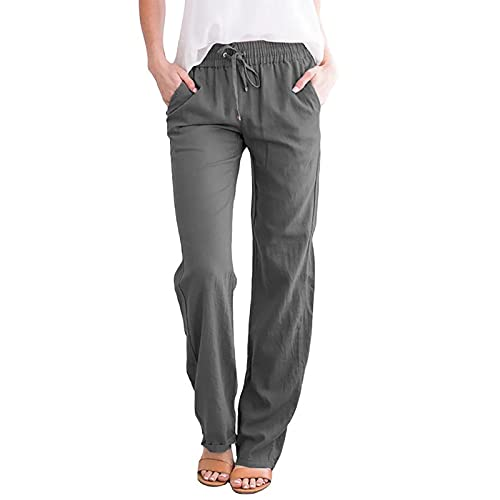 Binmer Women's Cotton Linen Pants Soft Cropped Drawstring Elastic Waist Pocket High Rise Trousers Casual Loose Straight Pants Gray