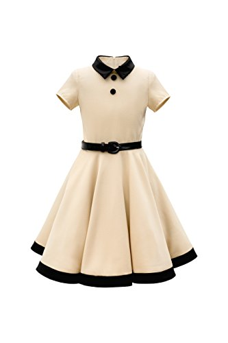BlackButterfly Kids 'Lucy' Vintage Clarity 50's Girls Dress (Champagne, 7-8 YRS)
