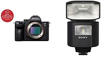 Sony a7 III Full-Frame Mirrorless Interchangeable-Lens Camera Optical with 3-Inch LCD, Black (ILCE7M3/B) and Compact, Radio-Controlled Gn 45 Camera Flash with 1