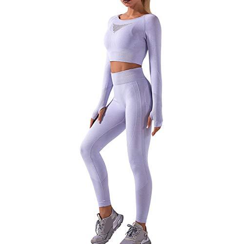 OEAK Conjunto de ropa deportiva para mujer, chándal, pantalones y top de deporte, 2 piezas, para yoga, tiempo libre, ropa deportiva, Color gris claro., S
