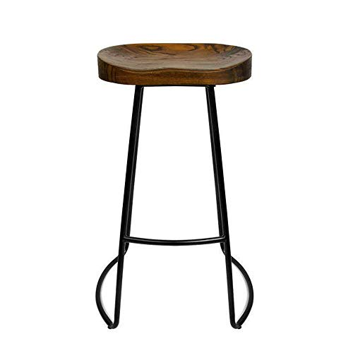 MEIDUO Durable Selles Tabourets de bar, ensemble de tabourets de bar de cuisine rustique vintage avec cadre en métal noir et siège en bois massif, chaise de salle à manger de style industriel 45 cm, 6