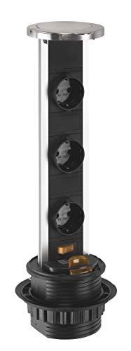 Evotec 04997 Pop Up - Regleta con 3 enchufes Schuko (plástico), color negro