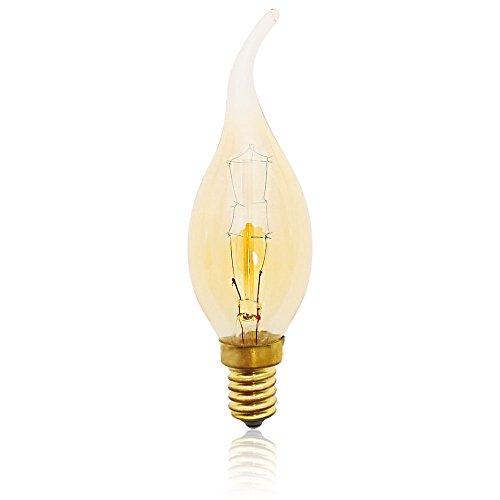 E14 Vintage Retro Edison Glühbirne Glühlampe (40W, C35L, Dimmbar) Ideal für Nostalgie und Antik Beleuchtung 2200K 220V Warmweiß