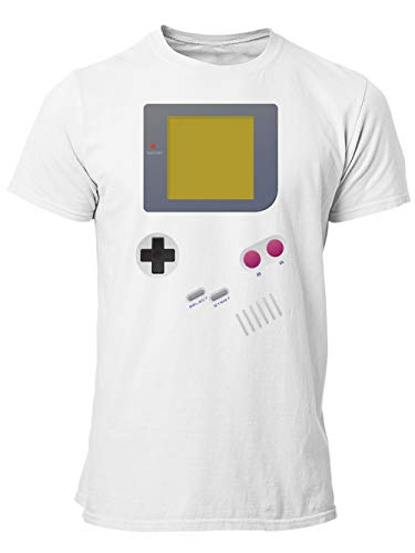 clothinx Handheld Konsole im Vintage 90er Jahre Retro Print   Gamer   Nerd   Geek   Computer Freak   LAN-Party   Herren T-Shirt Weiß Gr. XL