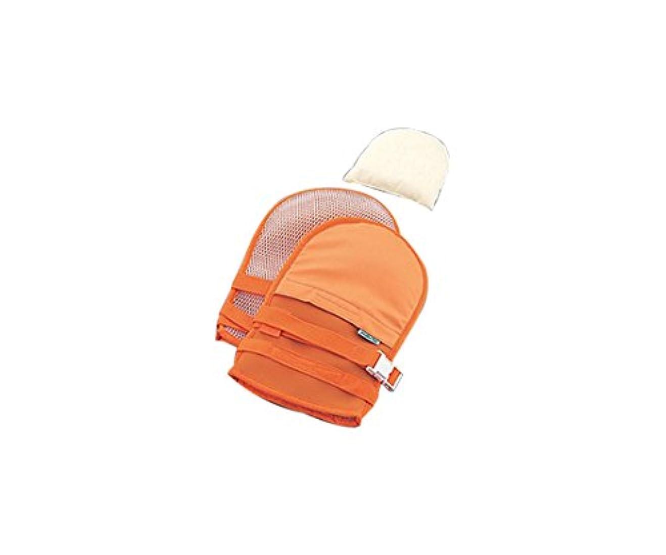 ベギン襟恵みナビス(アズワン)0-1638-43抜管防止手袋小メッシュオレンジ