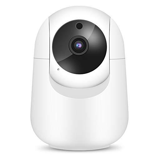 Jopwkuin CáMara de Seguridad Domo Blanca 1080P, Admite Audio Bidireccional de Almacenamiento En La Nube Monitor de CáMara de Bebé Inteligente con VisióN Nocturna para El Hogar(Enchufe DE LA UE)