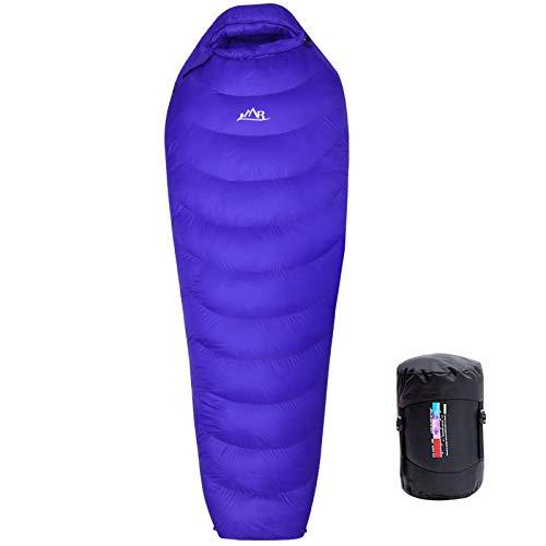 LMR Outdoor Ultraleichter Daunenschlafsack Professionelle Ente runter 1000g Füllung Ultralight Mumienschlafsack für Camping mit Kompression Sack Sleeping Bag-winterschlafsack (Blau)