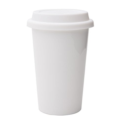 UDMG Reusable Double Wall Insulated White Ceramic Travel Coffee Cup with Lid & Sleeve, 12 fl.oz, I Am Not a Paper Cup…