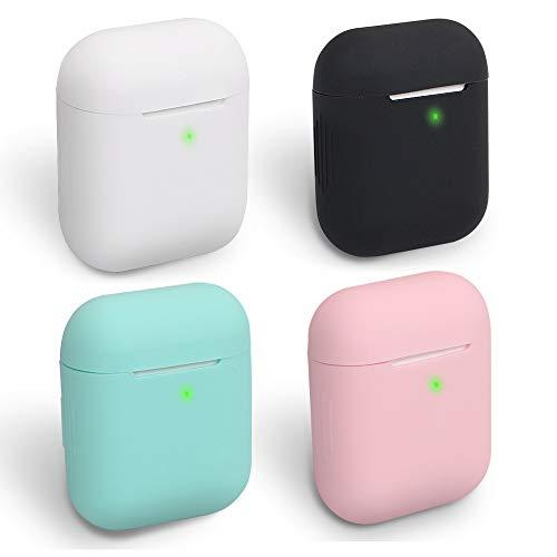 HomEdge AirPods Hülle, 4 Packungen, Nahtlose Passform, Silikon-Schutzhüllen [LED sichtbar] Kompatibel mit Apple AirPods 2 und 1 – Schwarz, Weiß, Pink & Mint Grün