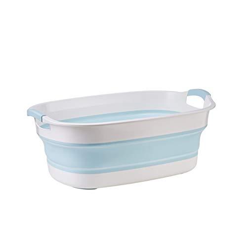 GuanXian Bañera plegable portátil para recién nacido, bañera, plegable, lavable, antideslizante, seguridad para niños (color: azul)