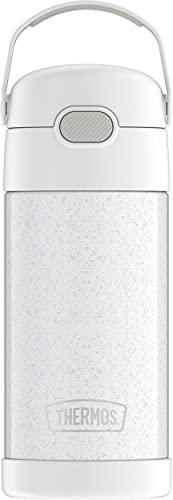 THERMOS FUNTAINER 340 ml Edelstahl-Trinkhalmflasche, vakuumisoliert, Glitzerweiß