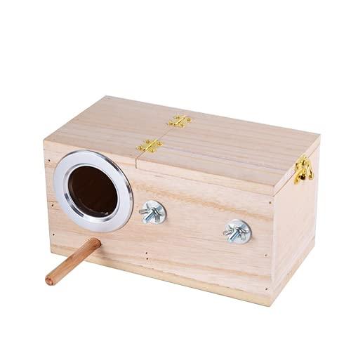 ARONTOME Caseta de madera de nido de periquito, caja de pájaros para pájaros de cría de Lovebirds suministros de apareamiento, 30 x 20 x 18 cm