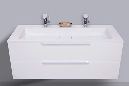 Intarbad ~ Design Badmöbel Cubo 120 cm Doppelwaschtisch weiß Hochglanz, mit Unterschrank Led Spiegelschrank Hacienda Schwarz IB1482