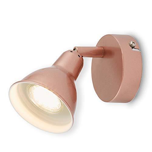 Lámpara de pared LED Briloner, foco giratorio y orientable, estilo vintage/retro, para techo o pared, color cobre, GU10, 3W, 8x 8x 13,5cm