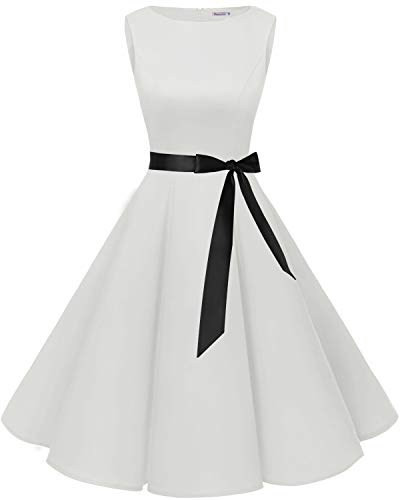 Bbonlinedress 50s Retro Schwingen Vintage Rockabilly Kleid Cocktail Faltenrock White M