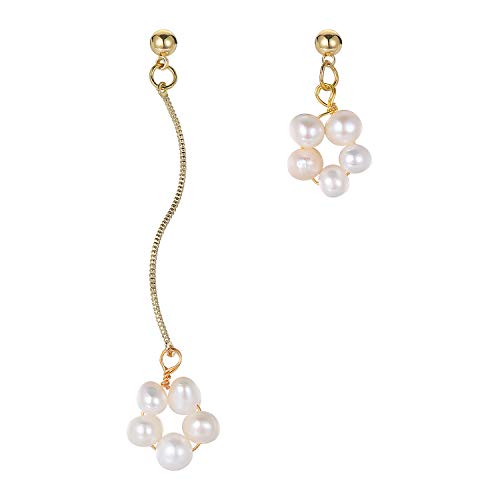 Fluidable Be Glamour Mujer Pendientes Ellery perlas de agua dulce, plata de ley chapada en oro de 14 quilates