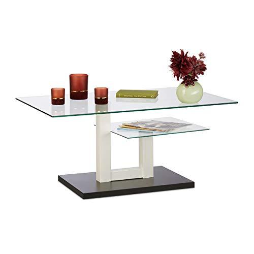 Relaxdays Tavolino da Salotto in Vetro, Moderno, 2 Piani d'Appoggio, Tavolo da Divano, HxLxP: 45x100x60 cm, Bianco/Nero, 1 pz