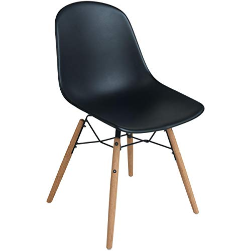 VEGA 30107280 Stuhl Emeo ohne Armlehne 2er Pack, 44x42x84 cm (BxTxH), Sitz schwarz, Gestell eiche/natur, 2 Stück