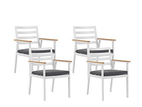 Beliani Stilvolles Gartenstuhl Set 4er Set in Weiß Aluminium graues Sitzkissen Cavoli