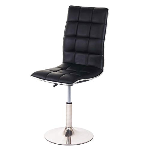 Mendler Esszimmerstuhl HWC-C41, Stuhl Küchenstuhl, höhenverstellbar drehbar, Fuß gebürstet Kunstleder ~ schwarz