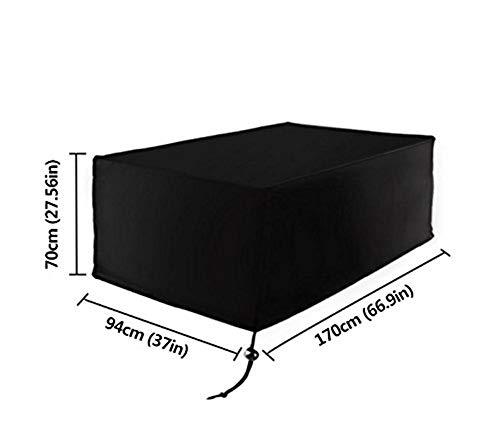 Fablcrew Housse Mobilier de Jardin Extérieur Grande étanche Cube Set de Table Housse de Protection pour Rotin Terrasse des Ensembles Noir (170 * 94 * 70CM)