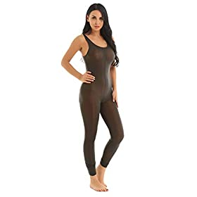 FEESHOW Womens Sexy Mesh Lingerie Crotch Zipper Sleeveless Bodystocking Catsuit Bodysuit Clubwear